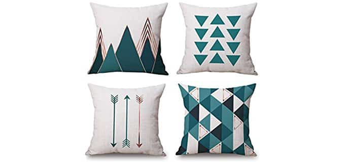Bluettek Throw Pillow Cases - Geometric Throw Pillow Case Collection