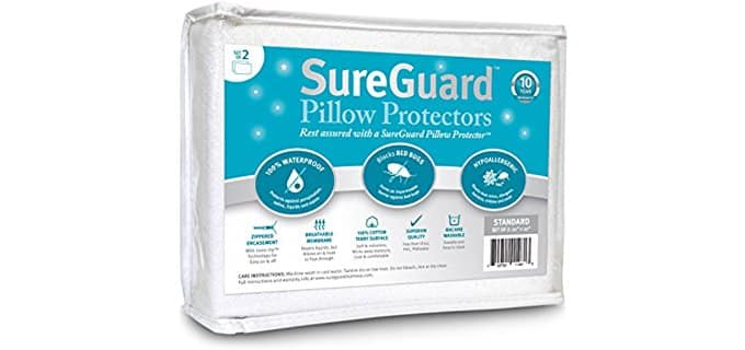SureGuard Pillow Protectors - Set of 2 Bed Bug Proof Pillow Protectors