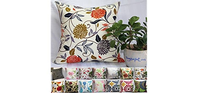 TangDepot Bold Floral Patterned Pillows - Decorative Floral Sofa Pillow Cases
