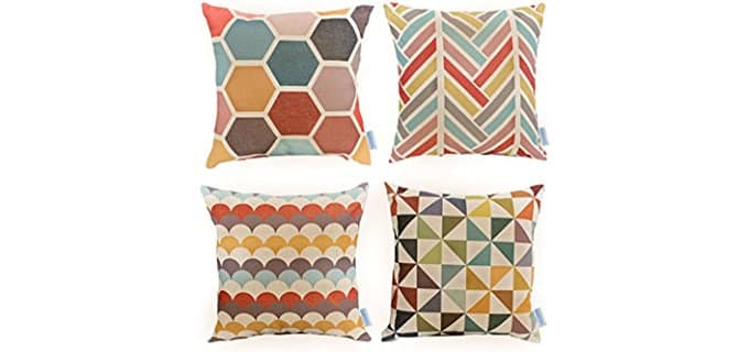 WOMHOPE Geometric Throw Pillow Covers - Set of 4 Geometric Sofa Pillow Covers