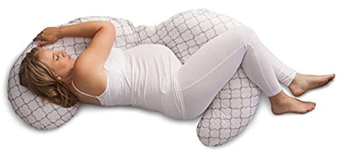 oppy Slipcovered Pregnancy Body Pillow, Trellis, White 1 of 6