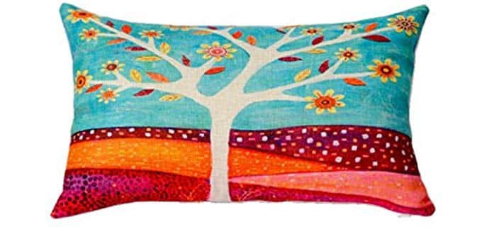 HomeTaste Country Rustic Tree Painting - Decorative Thick Cotton Linen Lumbar Pillow