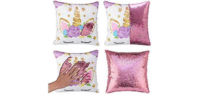 MerryColor Magic - Reversible Unicorn Pillow Cover