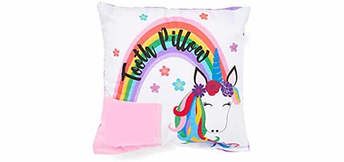 Bunnies and Bows Rainbow Mane - Girls Unicorn Tooth Fairy Pillow