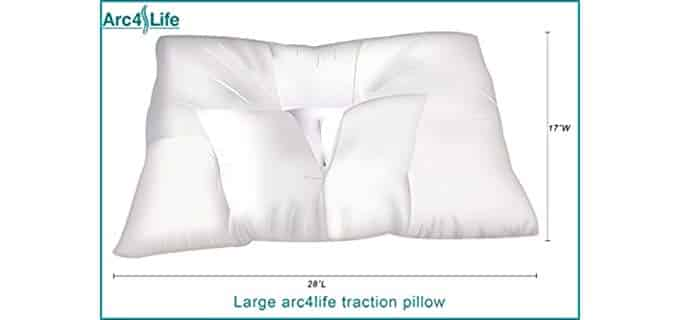 Arc4Life Traction Pillow - Specially Shaped Pillow for Side and Back Sleepers