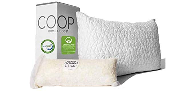Coop Home Goods Memory Foam Pillow - Fully Adjustable King Sized Memory Foam Pillow