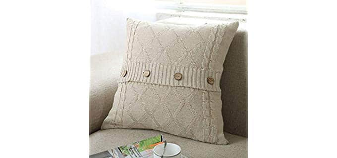 Doneus Cable Knit - Cotton Throw Pillow Cover with Buttons