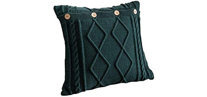 Jeannelife Cotton - Knitted Button Pillow Case