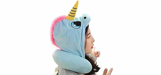 Kikigoal Unicorn - Character Neck Pillow with Hood
