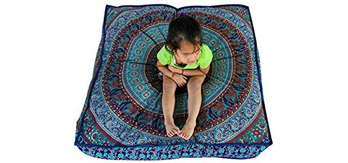 Third Eye Indian Mandala - Square Ottoman Meditation Pillow Cover