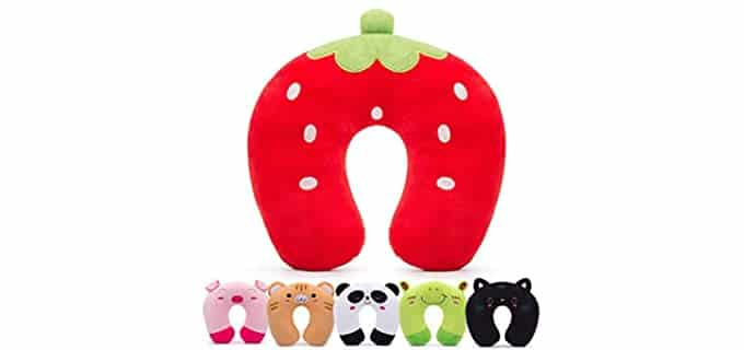 H HOMEWINS Strawberry - Travel Pillow for Toddlers