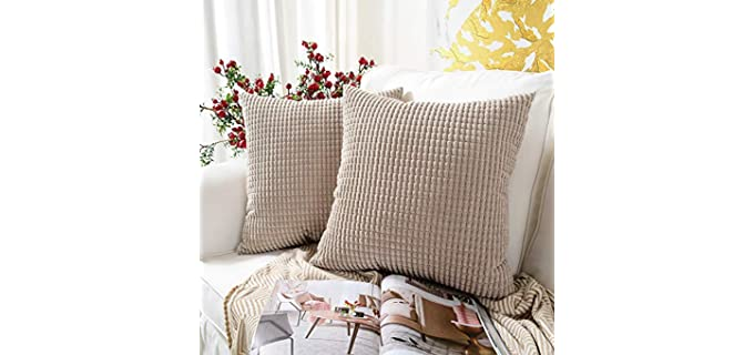 MERNETTE Soft Textured - Square Throw Pillow Cover