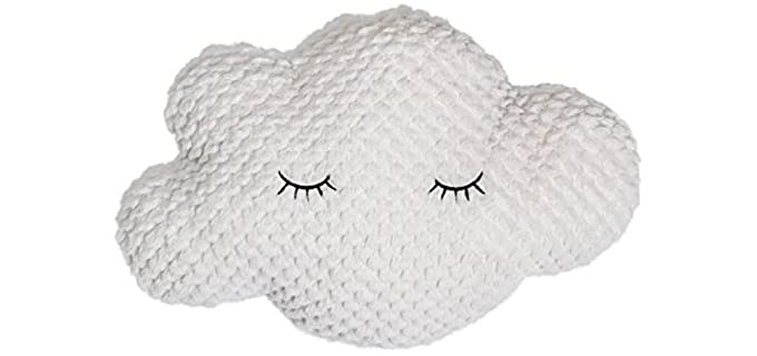 Bloomingville Polyester - Cloud Pillow with Eyelashes