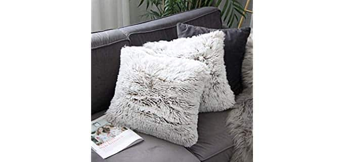 Uhomy Luxury - Ombre Faux Fur Pillow Covers