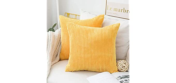Home Brilliant Mustard - Square Velvet Pillow Covers