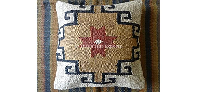Trade Star Exports Geometric - Jute Kilim Pillow Covers