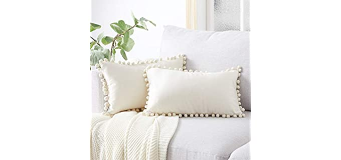 Top Finel Pom-Pom - Soft Velvet Pillow Covers