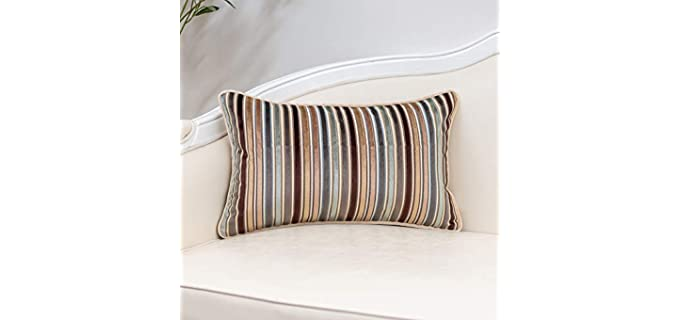Yangest Coffee - Striped Velvet Pillow Covers