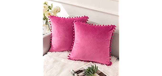 Ashler Home Deco Store Solid - Velvet Throw Pillow Cover