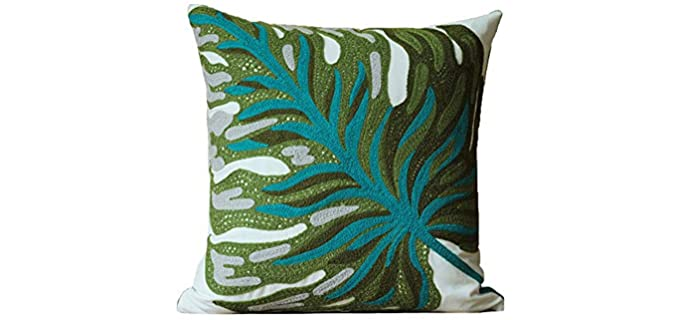blue page Store Banana Leaf - Embroidered Throw Pillow