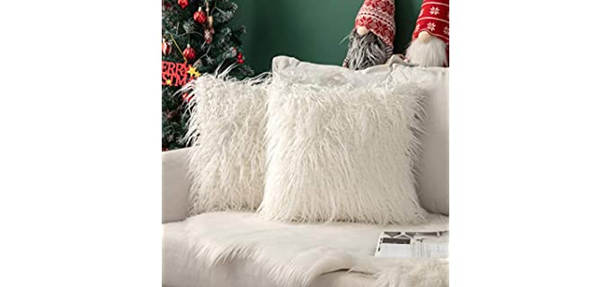 MIULEE Decorative - Faux Fur Throw Pillow