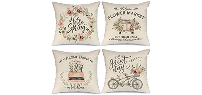 AENEY Hello Spring - Farmhouse Skin-Safe Pillow Covers