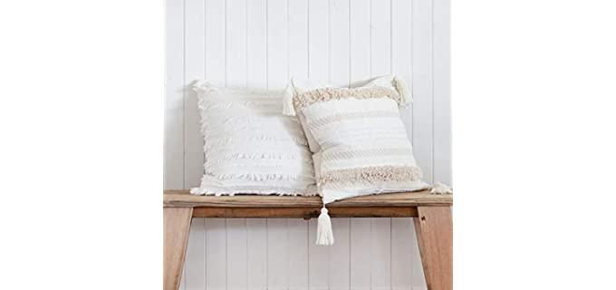 Inspired Ivory Shabby Chic - Tassel Texture Pillow Cover