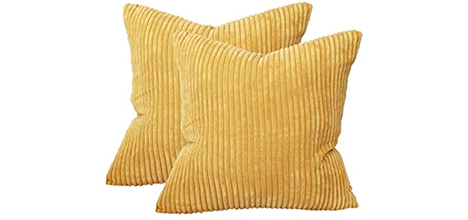 Sykting  Corduroy - Grass Yellow Pillow Cover