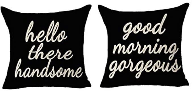 FELENIW Cotton Linen - Couple Pillow Covers