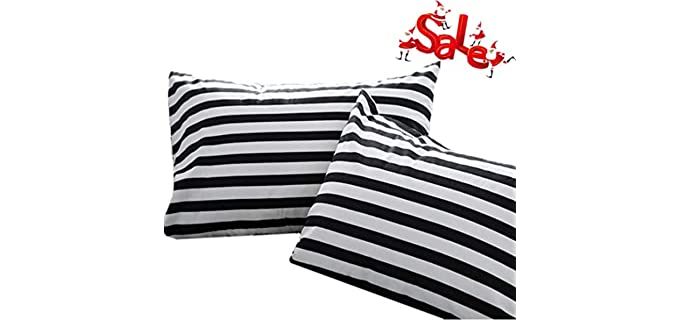 Wellboo Striped - Black and White Pillowcases