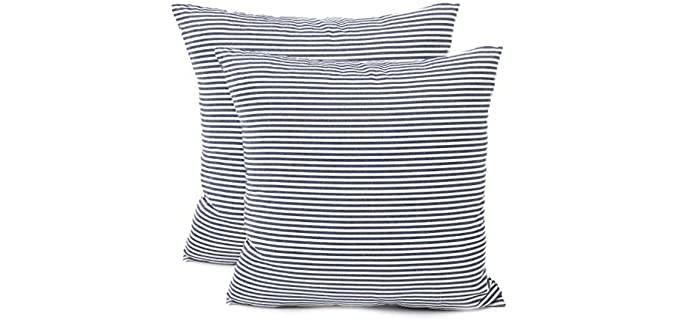 Shamrockers  Linen - Striped Farmhouse Pillow Covers
