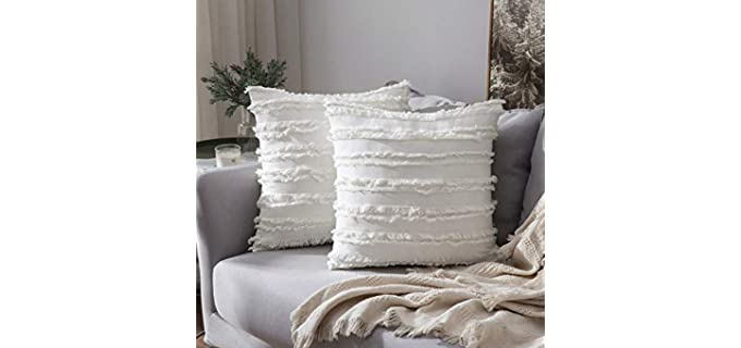 MIULEE Textured - Striped Throw Pillow Covers