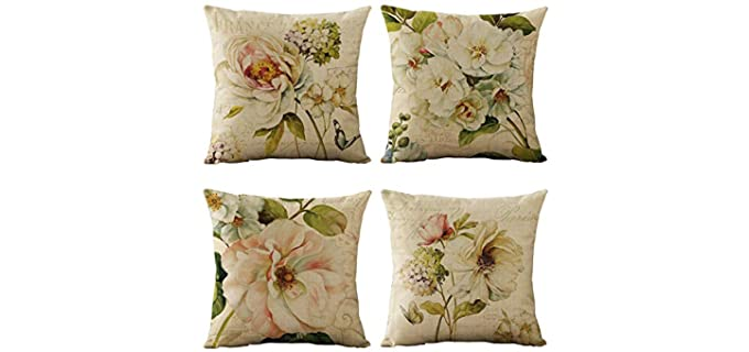 WOMHOPE  Vintage - Floral Throw Pillow Covers